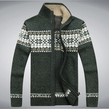 NIANJEEP Brand Thick New White Blue Gray Men Long Sleeve Winter Sweaters Coats & Jackets Man 30% Wool Flower Sweater Men A0373(China (Mainland))