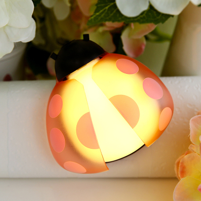 Creative Ladybug Cute Small LED Night Light For Children Baby Intelligent Sound And Light Control Motion Sensor Light(China (Mainland))