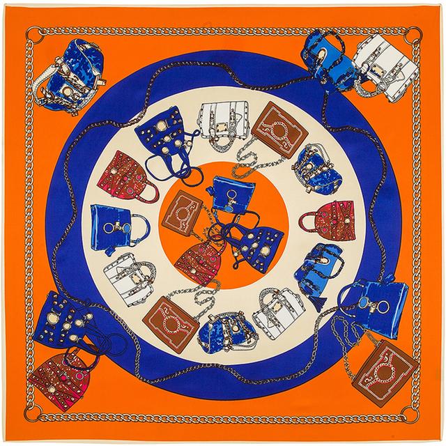 100 см * 100 см 100% саржевые шелковый евро марка сумка печатные женщины большой размер шелковая косынка высокое качество платки B124