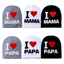 2015 Fashion Autumn Baby Hat Knitted Warm Cotton Toddler Beanie Baby Cap Kids Girl Boy I Love Papa Mama Print Kid Hats