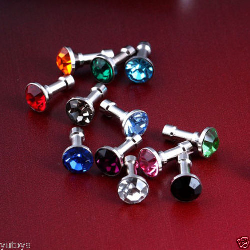 Free Shipping 10pcs/lot Colorful Bling Diamond Anti Dust Plug Ear Cap For Apple iPhone 2/3/GS/4S/5/IPOD(China (Mainland))