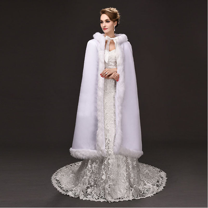 2017 Faux Fur White Long Wedding Wraps With Hoods Wedding Cloaks Warm Evening Dresses Boleros Jackets Wedding Women Bridal Capes