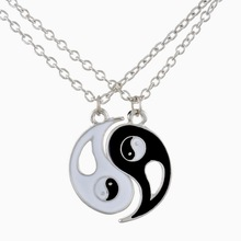 2016 New Fancyqube Fashion Drop shipping 1Set Best Friends Ying Yang Necklaces Two Bagua Charm Pendant Necklaces(China (Mainland))