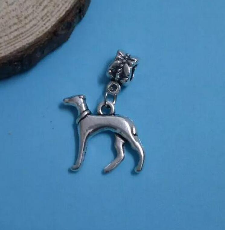 50Pcs Cute Greyhound Dog Charm Pendant Jewelry Findings Antique Silver Animal Pendant Fit Bracelet&Necklace Making(China (Mainland))