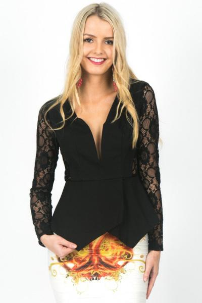 Fashion blusas femininas Women blusa Black Jersey Lace Long Sleeve PeplumTop Blazers LC25189 Autumn roupas(China (Mainland))