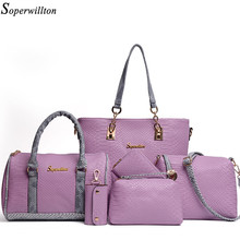 Soperwillton Brand 5 Pcs Women's Bag Set with Serpentine Print Soft PU Material Woman Messenger Bags and Wallet for Female #1132(China (Mainland))