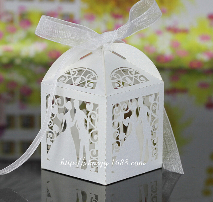 100pcs/Lot Party Favor Gift Tuxedo Dress Groom Bridal Wedding Candy Boxes Green And White(China (Mainland))