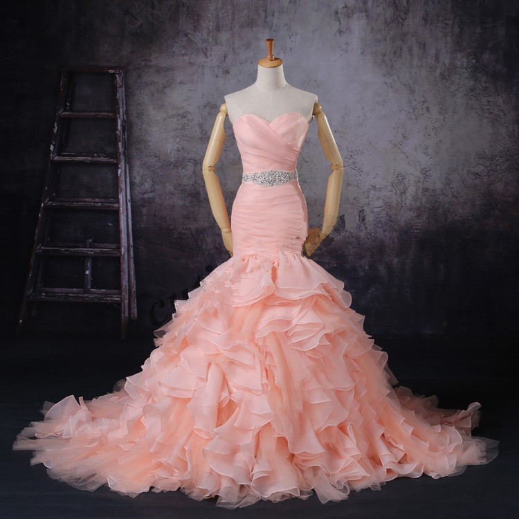 Pink Wedding Dresses Mermaid Style : Blush pink mermaid wedding dress in dresses from weddings