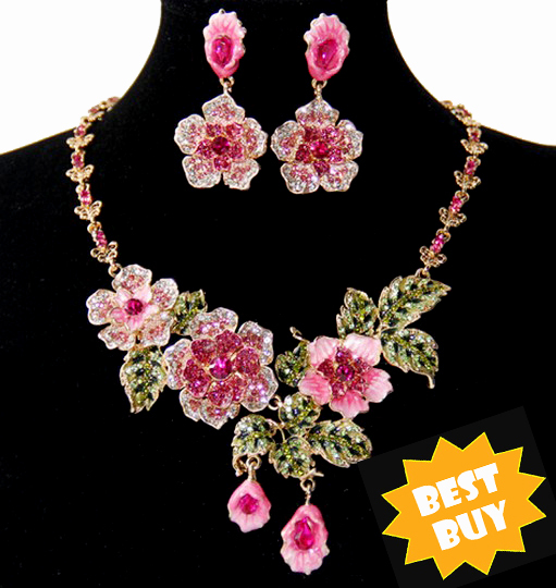 18K Gold Plated Price Pink Blue Flower Earrings Necklace Costume Jewelry Sets Wedding