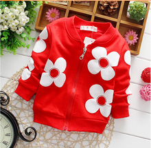 2015 spring girl jacket retail 0-2 year baby's outwear kids coat long sleeve flower coat baby jacket