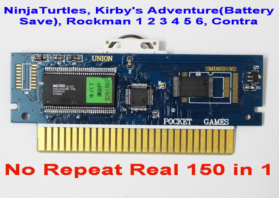Free 150in1 game card Rockman123456 MarioBros 123 NinjaTurtles Kirby s Adventure NES 72 Pins Game Cartridge