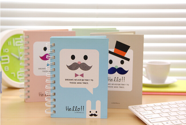 2X Kawaii Cute Moustache Hard Notebook Stationery Diary Account Sketchbook Papelaria Planner Memo Pad Student Gift<br><br>Aliexpress