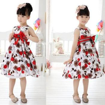 Cute white red trendy x mas birthday summer party flower girls dress 3