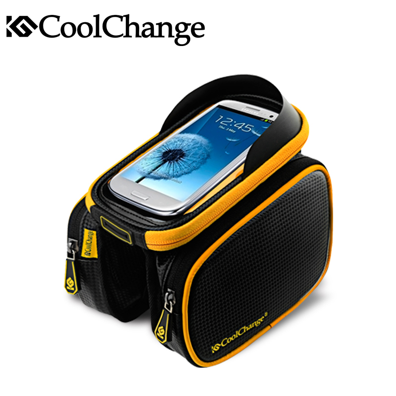 Coolchange Bike Bicycle Ride Frame Front Head Top Tube Bag&Double IPouch Cycling Pannier For 6.0 in Cell Phone Smartphone Case(China (Mainland))