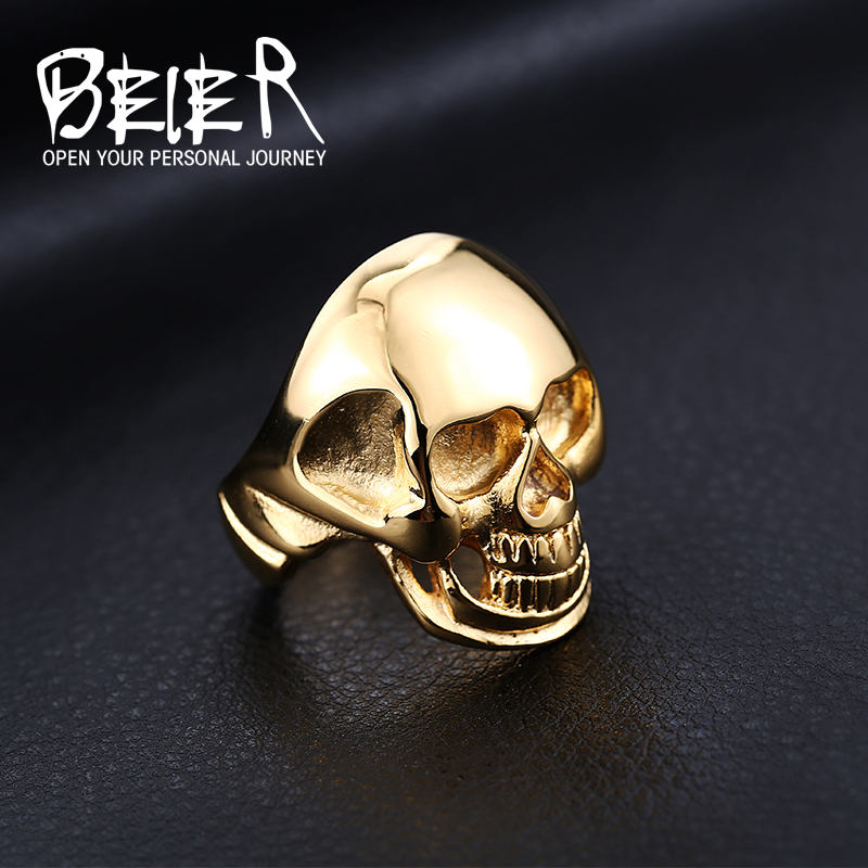 Punk Man's Cool Plated Gold Skull Ring For Man Titanium Male Ring Stainless Steel Boy's Unique Skull Ring(China (Mainland))