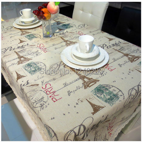 printed lace tablecloth linen cotton table cloth for party home decor table cover Eiffel Tower 90X90CM(China (Mainland))