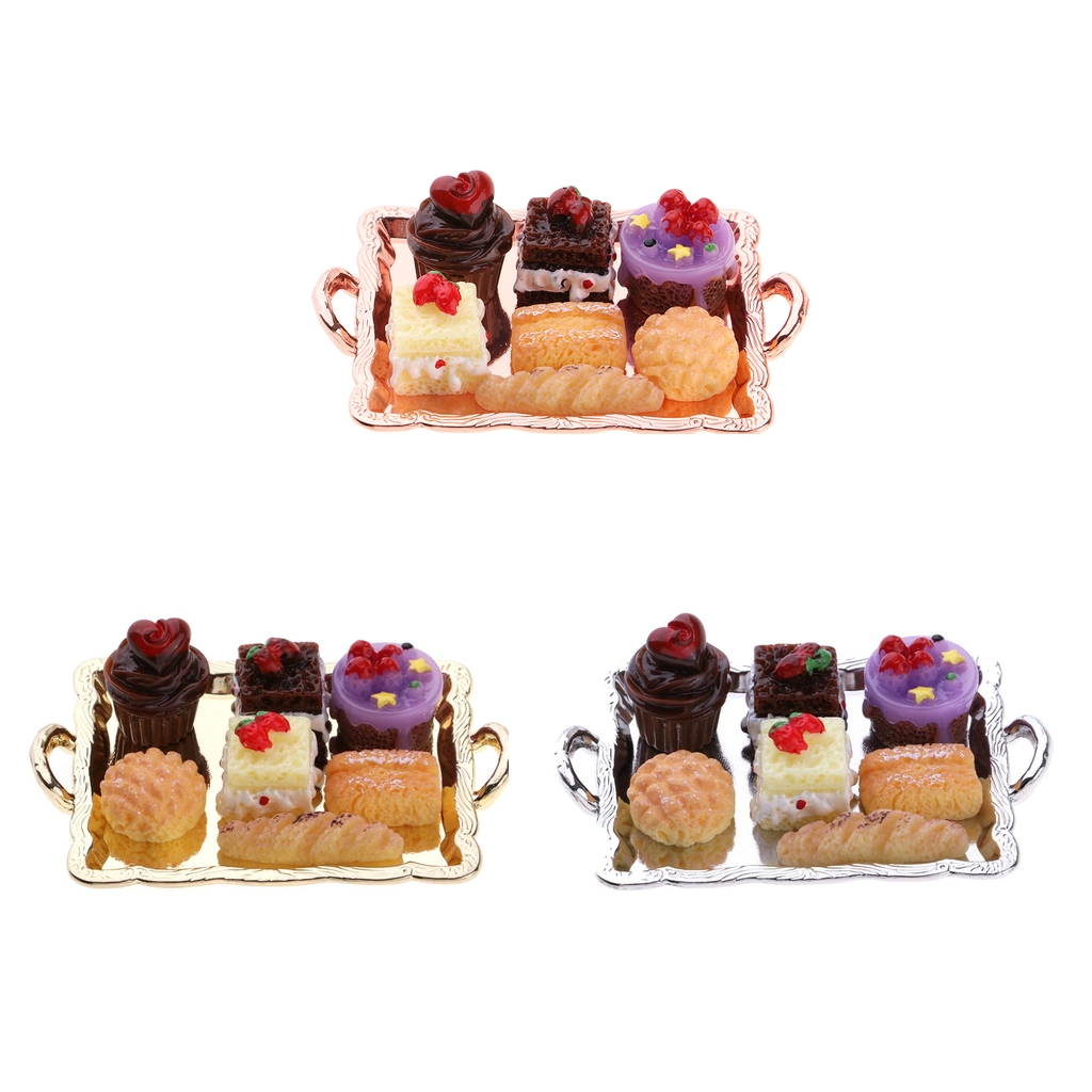 1:12 Dollhouse Miniature Food Cake Plate Breads Set for Kitchen Table Decoration Accessory perfect for pretend play toys