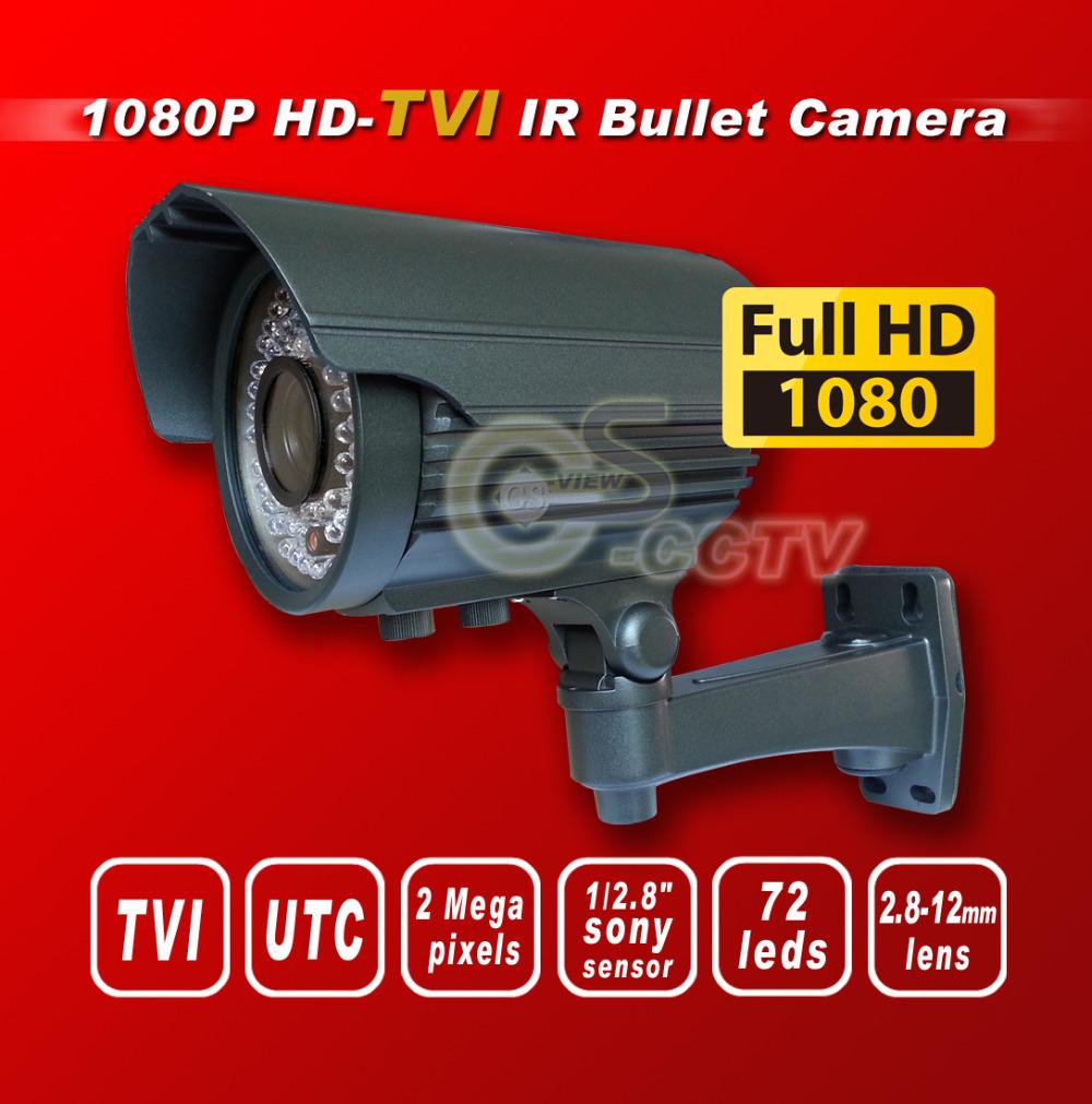 Free shipping TVI F901080P 1/2.8 Sony 2M Exmor Sensor security TVI camera 72IR 2.8-12MM 2M lens HD-TVI bullet cctv camera gray(China (Mainland))