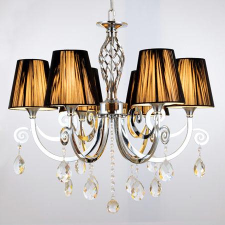 Modern K9 Crystal Chandelier Luxury Fashion Fabric Lampshade 6 Bulbs E14 110-240v 2014 New(China (Mainland))