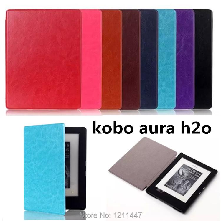 2014 Hot Sale Ultra Thin Folio Premium Leather Cover capa para Case For New KOBO Aura H2O Ebook Reader tablets kobo H20 e-Books(China (Mainland))