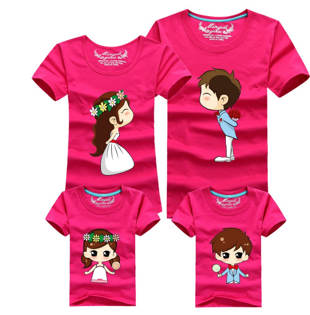 Design tshirt family - 1 Pc Wedding Rose Red Cartoon Family Shirts Man T Shirt 60 Cotton Big Size Large Size Xl Summer Short Sleeves Couples T Shirts Free Shipping Discount