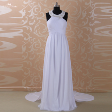 RSW548 Beading Halter White Elegant Chiffon Fabric Beach Wedding Dress(China (Mainland))