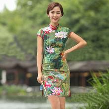 2015 Green Lotus Linen Dress Cheongsams Hot Sale Classical Style Women Qipaos New Design Short Sleeves Hand Button Ladies Dress(China (Mainland))
