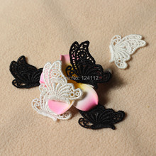 20 pcs/lot, 4.8cm*3.9cm Gorgeous Quality Off White Black Embroidery Venise Lace Butterfly Applique For DIY Earrings(China (Mainland))