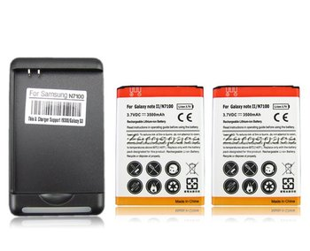 New 2x 3500mah Rechargeable  Battery + Wall Charger For Samsung Galaxy Note 2 II GT-N7100 N7100