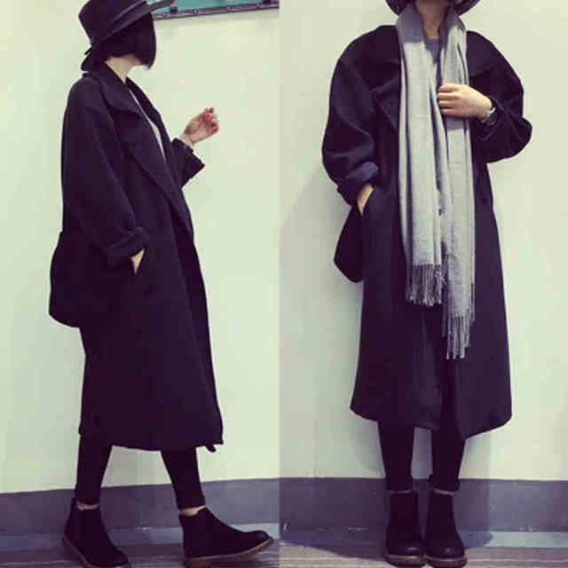 2016 весна и осень в европейском стиле черного шерстяное пальто для женщин длинное ...