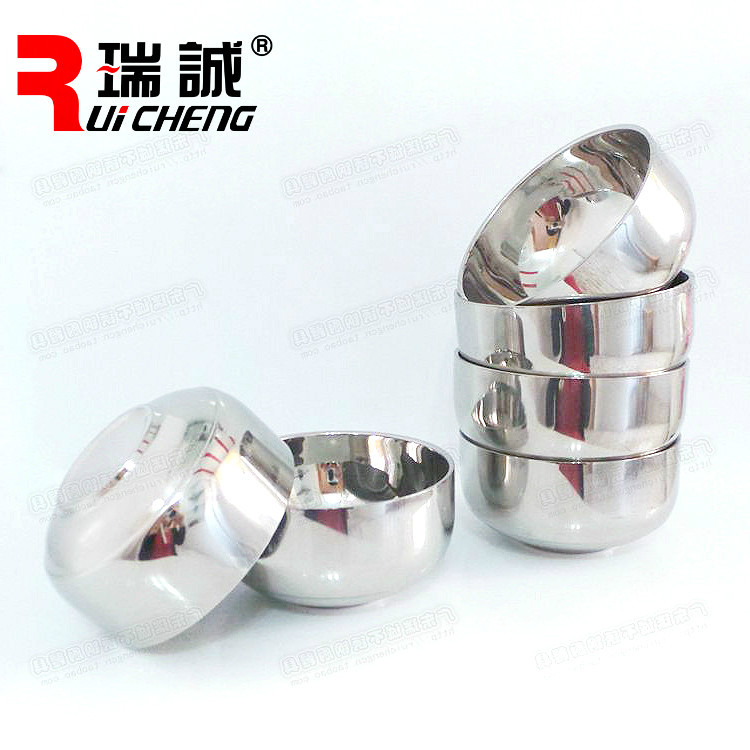 Ruicheng Korean elegant stainless steel bowl light thickened double-insulated bowl DROP child holding a bowl of soup pots(China (Mainland))