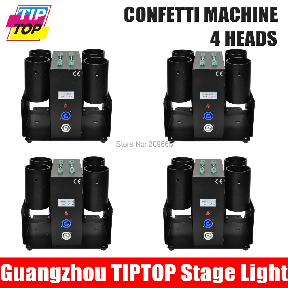 Free Shipping 4 units 4 Heads Electrical Paper Confetti Machine AC110V-240V DMX 512 Control Wedding Confetti Cannon for Party(China (Mainland))