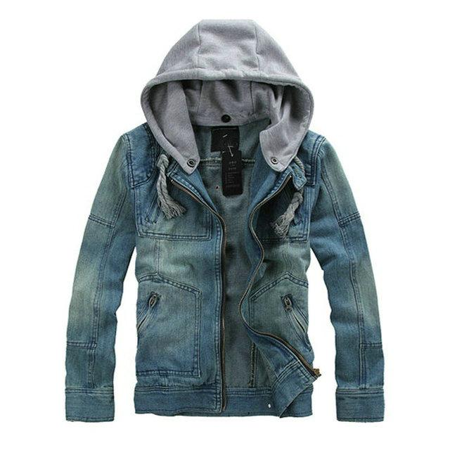 2016 весна осень новый 5XL Большой размер мужская куртка джинсы верхней одежды синий ...