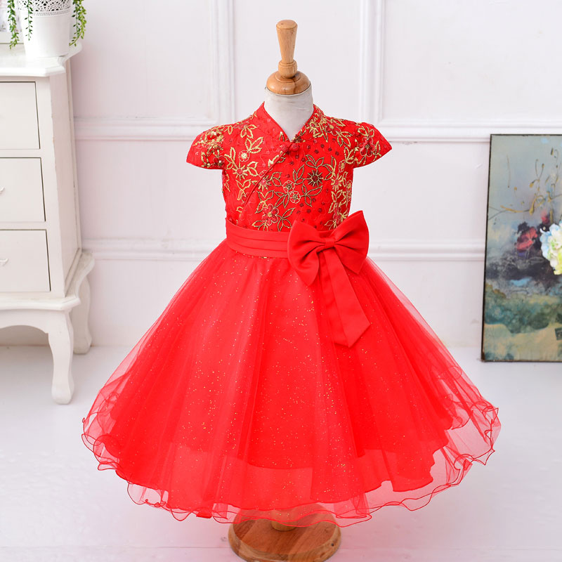 Wholesale girl new year dress with bow embroidery flower ball gown dress evening dress  1lot /6pcs L8090