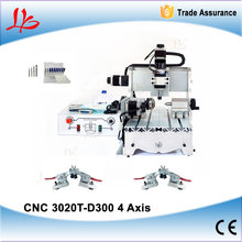 Mini CNC engraving machine CNC3020, 4 Axis CNC 3020 wood router 300W DC spindle motor With gift 14pcs/lot cutter and cnc clamp(China (Mainland))