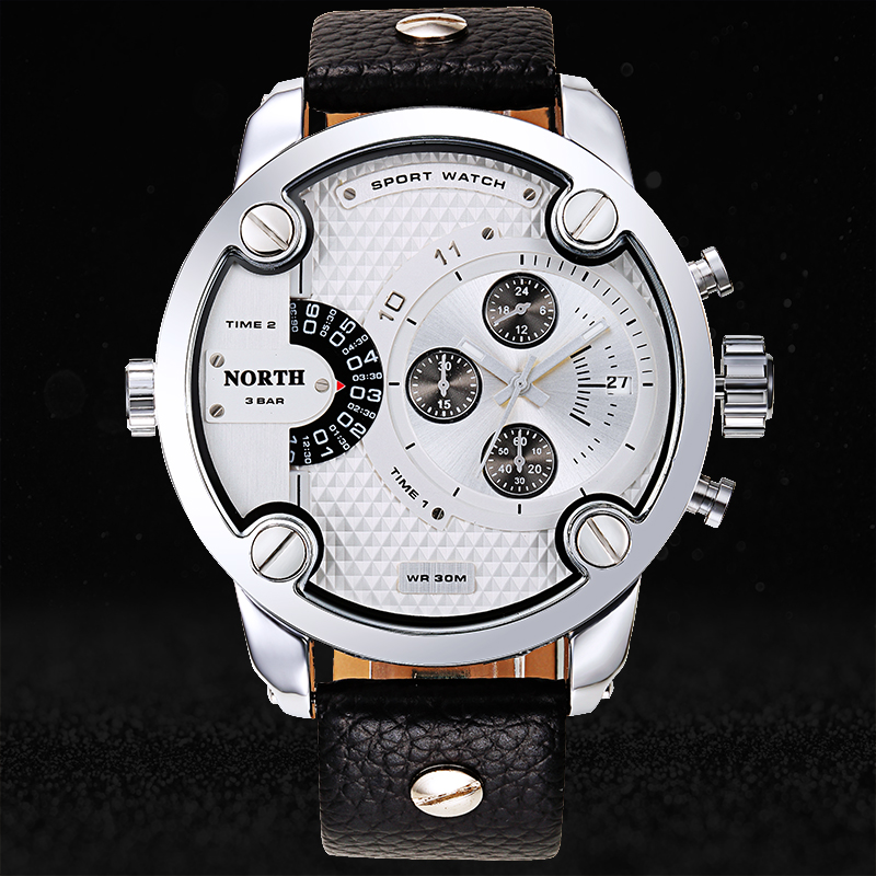 Men Sports Watches 2016 Stainless Steel Genuine Leather Band 30 Meters Waterproof Quartz Wristwatch Male Relogio