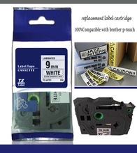 High quality labelzone  tape, black on white tape, 9mm labelling tape TZ221 for p touch label printer