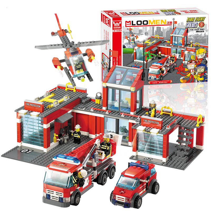 Model Fire Station Assembly Building Blocks Educational Bricks City Firefighter Creative Toy For Children/Child/Kid(China (Mainland))