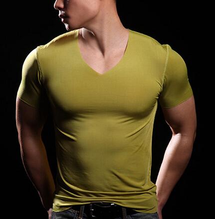 Brand Cotton Modal V Neck t shirt men fitness clothing gym bodybuilding t-shirt tee shirts camisetas - big fashion store