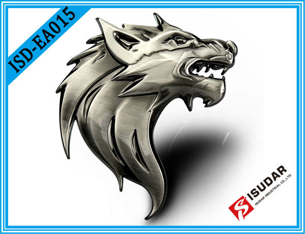 Personalized! Auto Car Truck Motor 3D Wolf Head Logo Prime Emblem Badge Sticker Decal Metal 3M Adhesive Tape Free Shipping(China (Mainland))