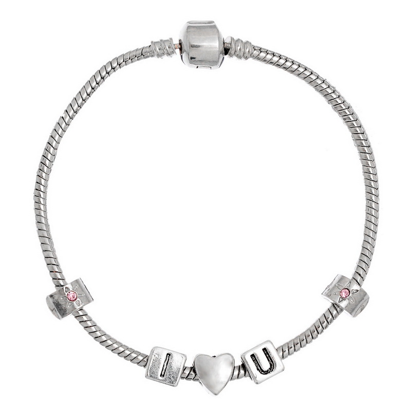 1PC Silver Tone Zinc Alloy Sweet Special I Love You Charm Bracelet 21cm(China (Mainland))