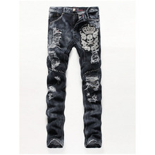 New Slim Straight Men Gray hand-embroidered Skull Patch Holes Jeans Pants Men's Large Size Fashion Trousers Beggars Slim Jeans (China (Mainland))