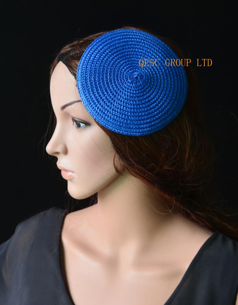 Royal blue 14cm Round PP straw base Disc Saucer Fascinator Base for sinmay fascinator.(China (Mainland))