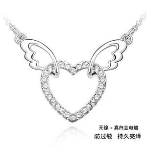 Love Anniversary Gift Angel Heart pendants necklaces Charm sweet Choker jewellery for lady(China (Mainland))