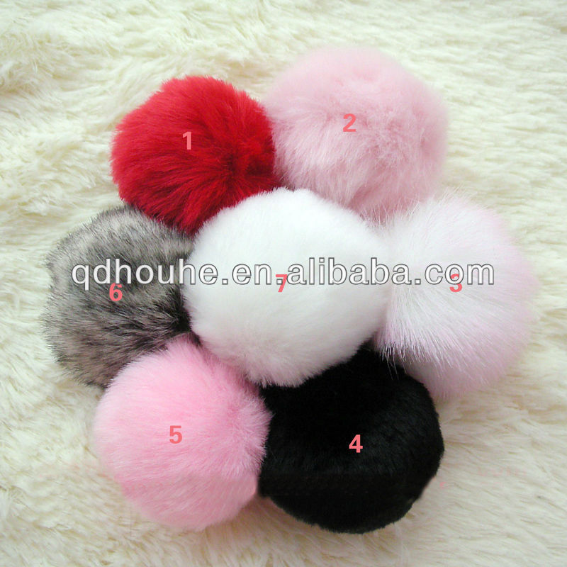 Free shipping Faux rabbit fur ball fake fur ball cheap fur ball keychain Fashion bag accessory(China (Mainland))