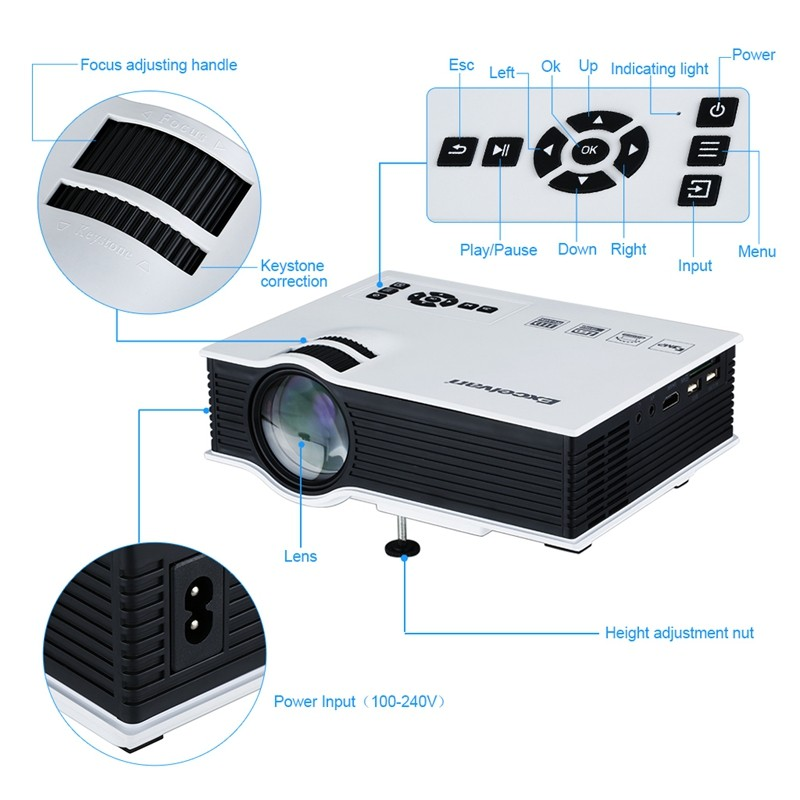 Excelvan UC40 800 Lumens Portable Mini LED Projector Multimedia Home Cinema Theater 800480RGB USBAVSDHDMI 3.5mm Audio out 1