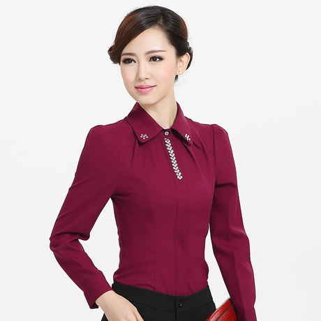 Popular Blouses Women Blue Shirts Long Sleeve Ladies Office Uniform Blouses