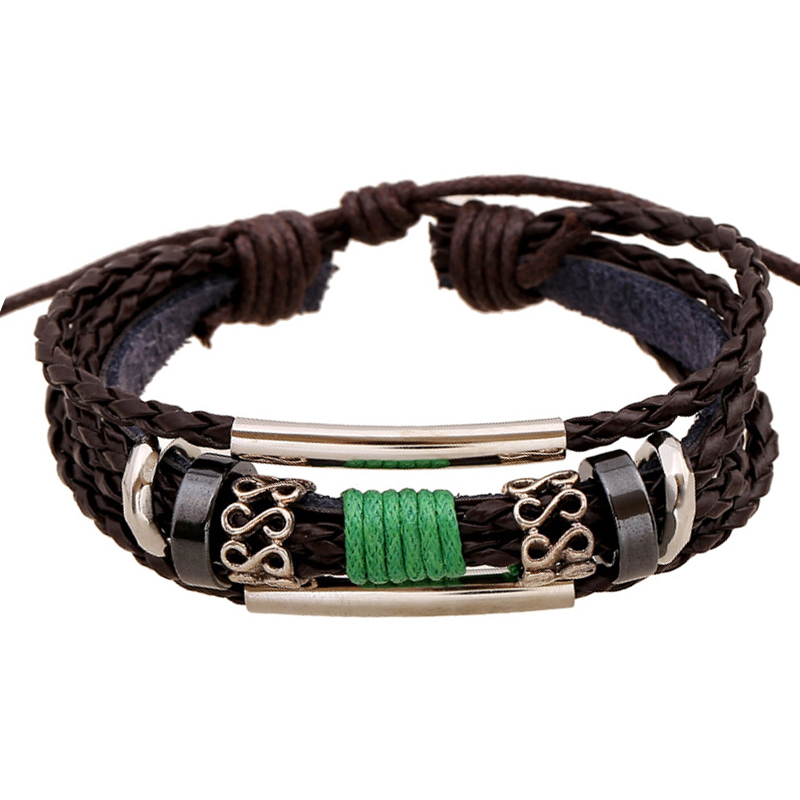 ER 2016 Vintage Mens Leather Wrap Charm Bracelet Women Rope Braided Cuff Bangle Cheap Fashion Jewelry Wholesale Pulceras LB114(China (Mainland))