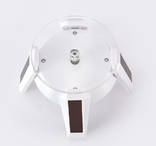 S00113 Solar Power 360 Degree Turnable Rotary Jewelry Display Stand Showcase LED Light White / Black Optional(China (Mainland))