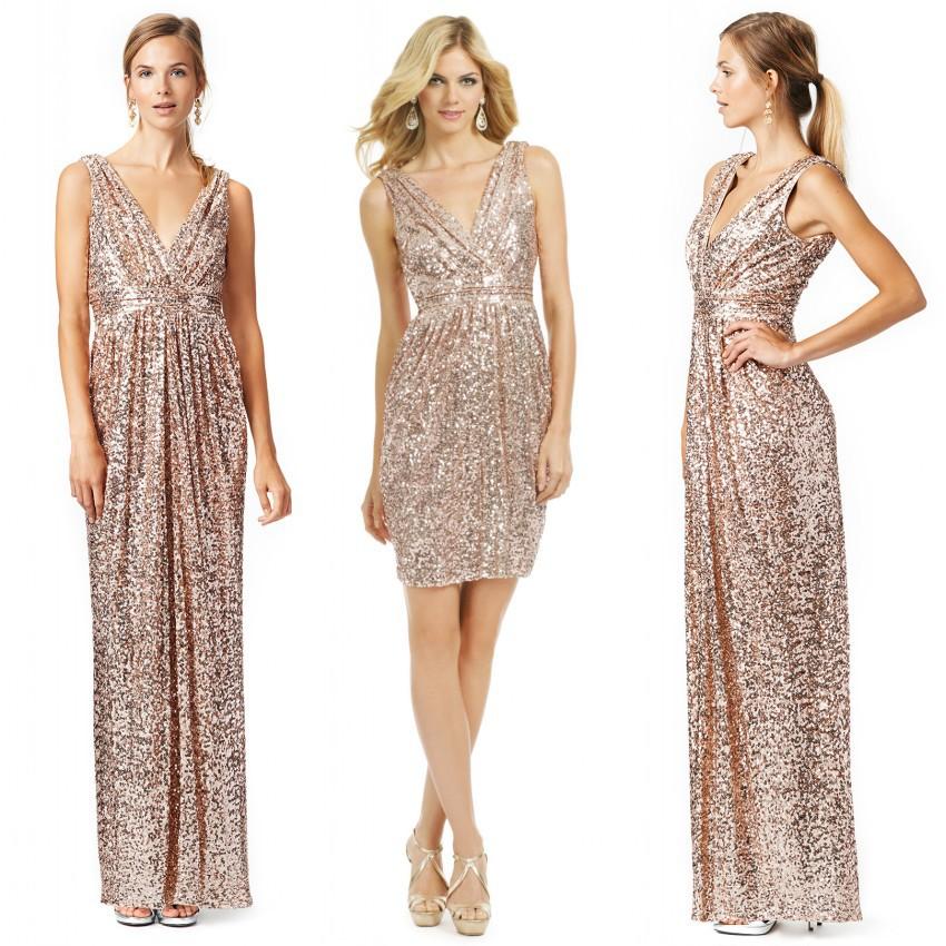 Sparkly sequins long gold bridesmaid dresses 2015 hot v for Gold sequin wedding dress